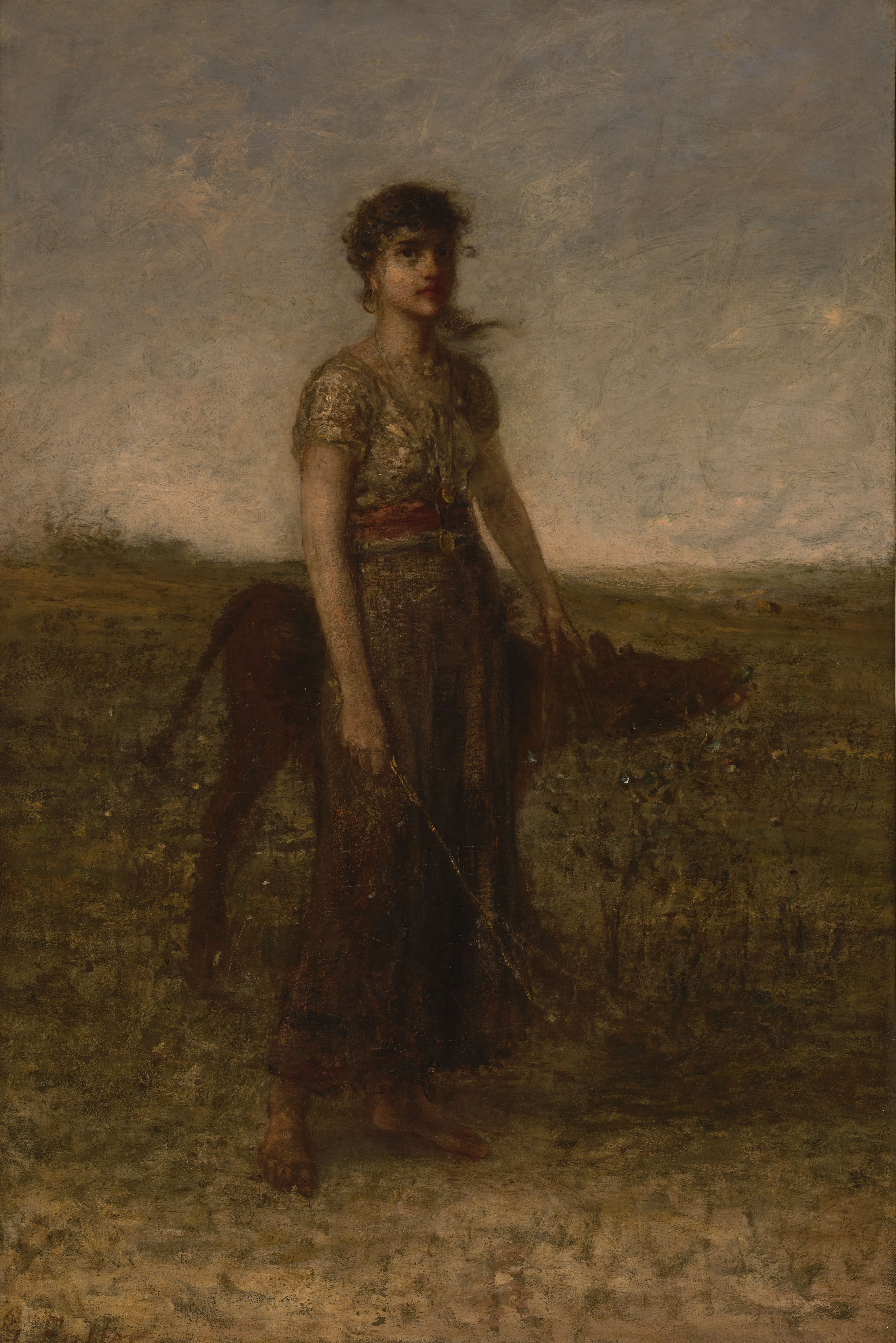 Girl and Calf (Led Through Meadows) by George Fuller