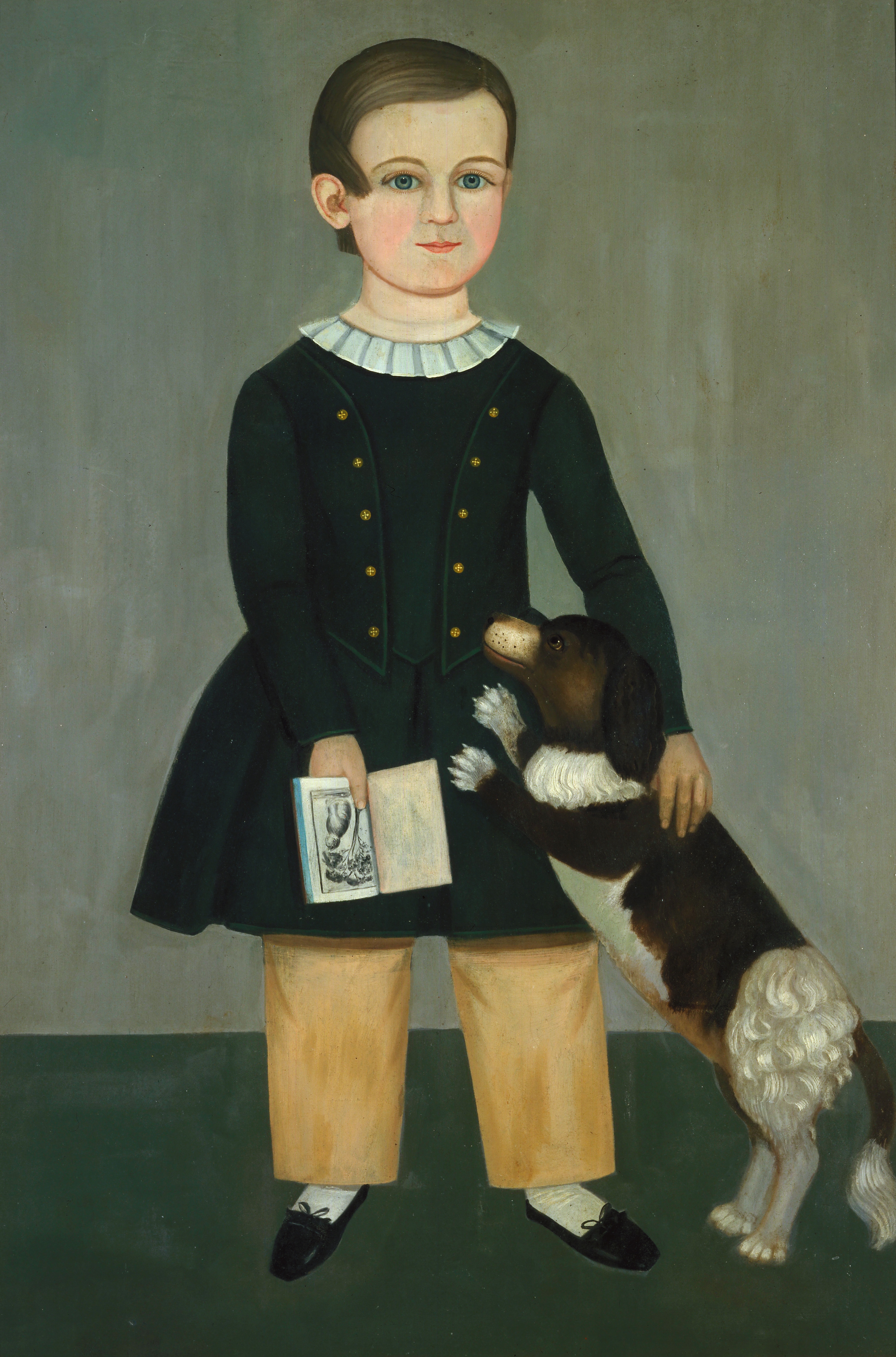 Young Boy with Dog by Samuel Miller