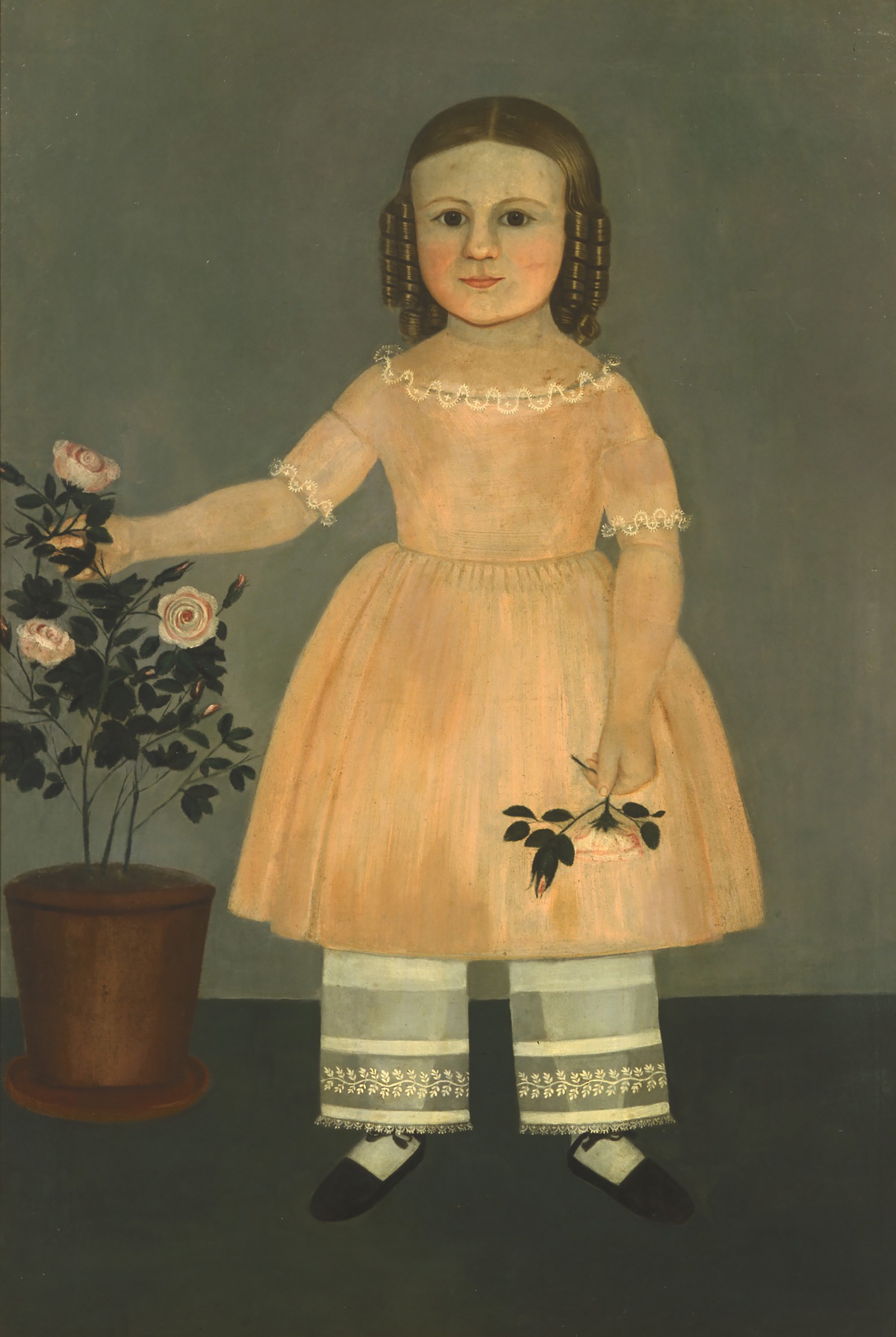 Young Girl with Flowers by Samuel Miller