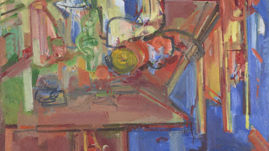 Still Life with Fruit and Coffeepot by Hans Hofmann