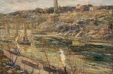 Harlem River at High Bridge by Ernest Lawson