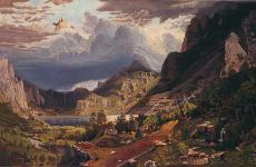 Storm in the Rocky Mountains, Mt. Rosalie by W.C. Sharon, after Albert Bierstadt